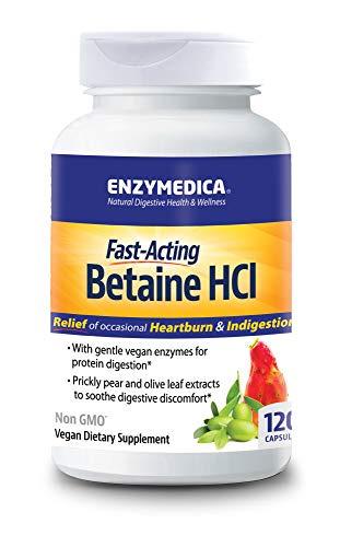 - Enzymedica - Betaine HCl, Supports Gentle Relief from Occasional Heartburn and Indigestion, 120 Capsules