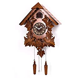 Polaris Clocks Cuckoo Wall Clock with Night Mode Option in Black Forest Style (Brown, 20 Size)