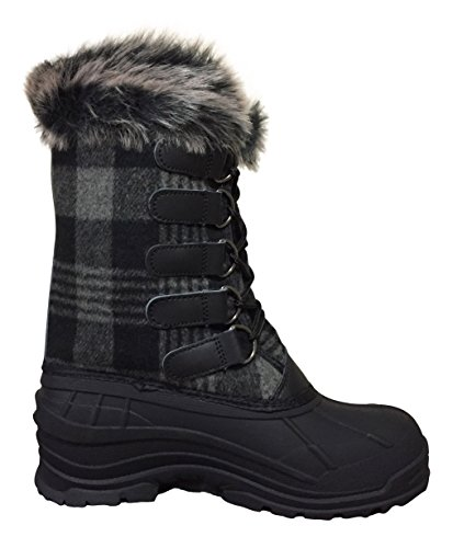 ClimaTex X Womens YC4 Snow Boots, Gray/Black Plaid, 6 M US