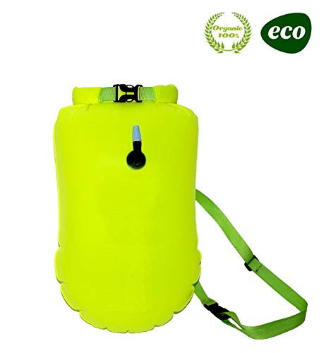 E-Onfoot Swim Float and Drybag for Open Water Swimmers and Triathletes, Highly Visible Bouy Float Air Bag for Safty Swim Training (Fluo Green-with Storage 20L)