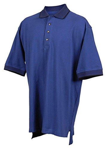Tri-mountain Mens cotton pique golf shirt with jacquard trim. - ROYAL / NAVY - (Navy Jacquard Polo)