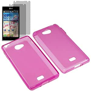 AM TPU Sleeve Gel Cover Skin Case for MetroPCS LG Spirit 4G MS870 + 2 Fitted Screen Protector -Magenta Pink