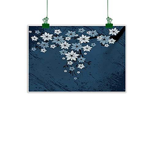 (Anzhutwelve Floral,Wall Decor Spring Blooms on Grunge Backdrop Classic Petal Flourishing Season Essence Theme Kitchen Home Decorations Night Blue Dust W 36