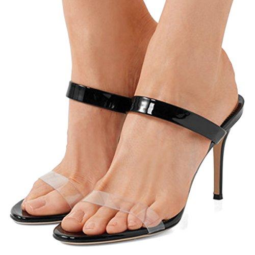 Fsj Donna Strappy Chiaro Open Toe Sandali Stiletto Tacco Alto Muli Scarpe Da Festa Sexy Taglia 4-15 Us Nero