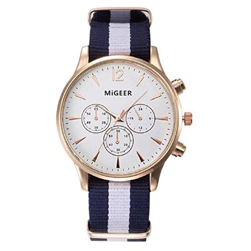 Vovotrade®Luxusmode-Segeltuch-Männer-analoge Uhr-Armbanduhren_Weiß