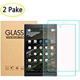 [2PACK] All-New Fire HD 10 Tablet(7th Generation 2017 Resease) Screen Protector Tempered Glass [HD Clear 9H Hardness] with Anti-Scratch/Easy Install/Oleophobic