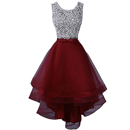Lemai Plus Size Sheer Beaded High Low Tulle Prom Evening Homecoming Dress Burgundy US 16W