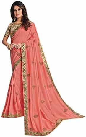 6398fb1fd9 Peach Pink Designer Evening Party wear Satin Silk Saree Sari Blouse piece  Women Indian Ethnic dress