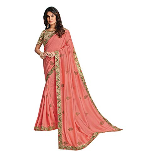 (Peach Pink Designer Evening Party wear Satin Silk Saree Sari Blouse piece Women Indian Ethnic dress 7974)