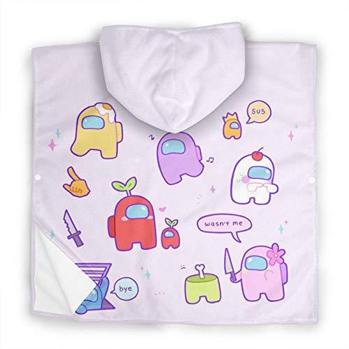 Among Us Kids Hooded Bath Towel,Hooded Bath Towels for Big Kids,Kids Bath and Beach Soft Cotton Terry Hooded Towel wrapOne Size White