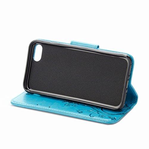 Custodia Apple IPhone 7 Cover Case, Ougger Fiore Farfalla Portafoglio PU Pelle Magnetico Stand Morbido Silicone Flip Bumper Protettivo Gomma Shell Borsa Custodie con Slot per Schede (Blu)