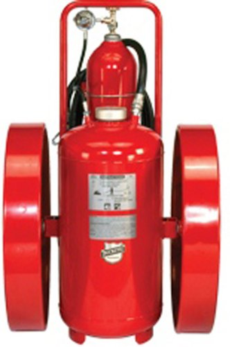 Buckeye 32230 Pressure Transfer Standard Dry Chemical Fire Extinguisher with Steel  Wheels and Rubber Treads, 350 lbs Agent Capacity, 24'' Width x 50'' Height x 42'' Depth