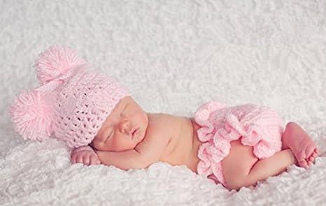 Bebé recién nacido infantil hecha a mano ganchillo gorro Pink Lady ...