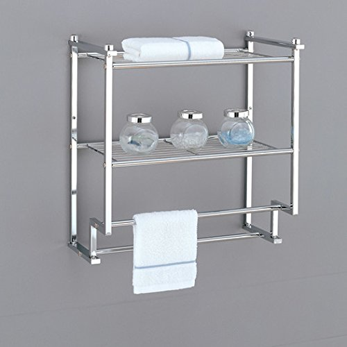 Wall Mounted Bathroom Towel Rack Double Bar Holder Twin Hang