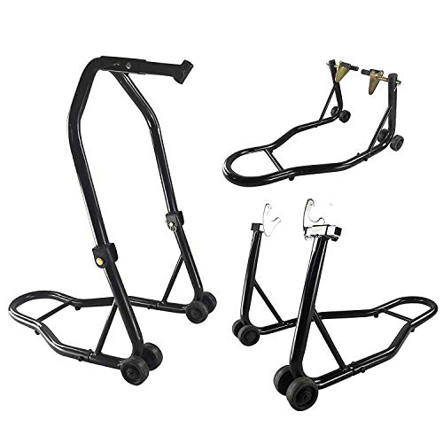 (SUNCOO Pair Motorcycle Stand Front and Rear Wheel Paddocks Stand Replaceable Upper Frame Swing Arm Fork Spool Lift for Sport Bike Wheel Fits Honda Yamaha BMW for Auto Bike Maintenance, Black)