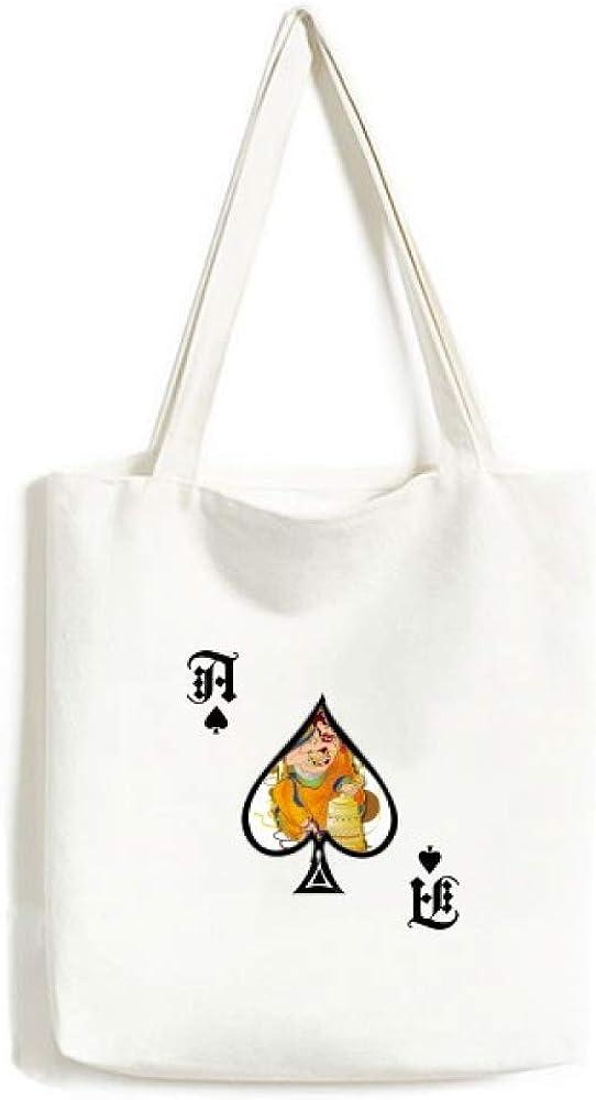 Customs Eighteen Arhats Figure Pattern Handbag Craft Poker Spade Canvas Bag Shopping Tote