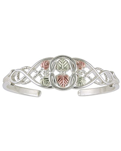 Tri-Color Celtic Patten Cuff Bracelet, Sterling Silver, 12k Green and Rose Gold Black Hills Gold Motif by Black Hills Gold Jewelry