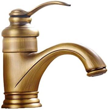 真鍮の浴室の洗面台の蛇口アンティークラグジュアリーシングルハンドルコールドとホット水タップバニティ船シンクミキサーシングル蛇口クレーン (Color : Antique)