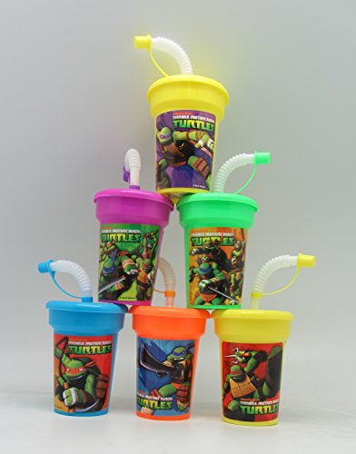 6 Teenage Mutant Ninja Turtles Stickers Birthday Sipper Cups with lids Party Favor Cups -