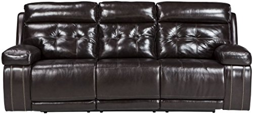 Ashley Furniture Signature Design - Graford Leather Power Sofa w/Adjustable Headrest - Contemporary - Walnut