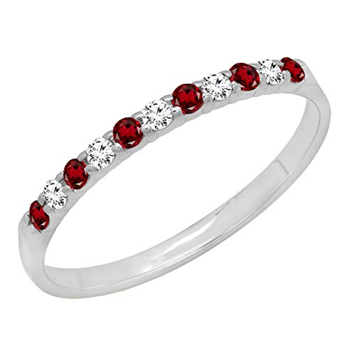Dazzlingrock Collection 10K Round Garnet & White Diamond Anniversary Wedding Ring Stackable Band, White Gold, Size 7
