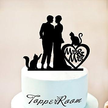 Decoración para tarta de boda, diseño de gatos con dos gatos y lesbianas, silueta