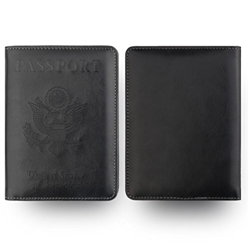 MChoice Leather Passport Holder Wallet Cover Case RFID Blocking Travel Wallet (Black)