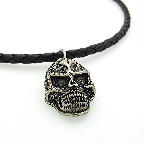 Human Skull Necklace - Mens Leather Necklace - Skull Jewelry - Skeleton Head Pendant - goth necklace