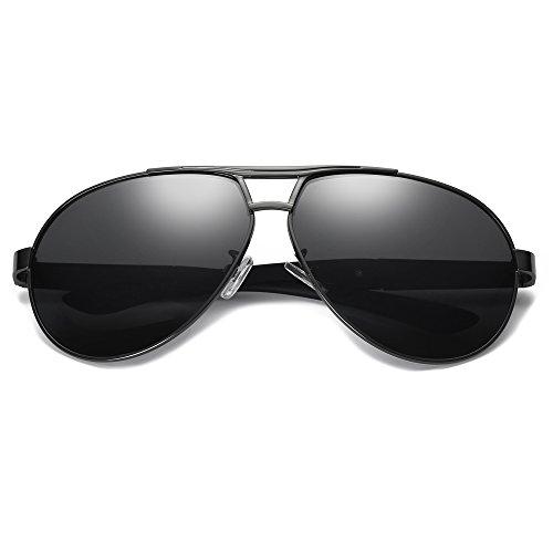 Mujer Grigio UV400 Marco Retro de metal Gafas Deportivas de de polarizadas Gafas Hombre Bmeigo Aviador conducción Lentes sol RUz7q4wUYT