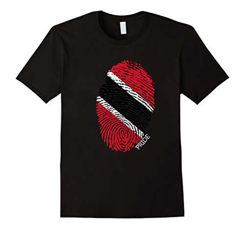 Mens Trinidad & Tobago Pride Flag Fingerprint Country T-Shirt 3XL Black (Colors Trinidad Flag)