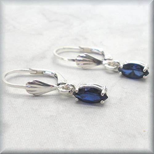 - Marquis Cut Blue Sapphire Leverback Earrings by Bonny Jewelry