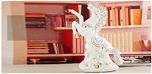 JDSHSO Modern Luxury Resin Crafts Gold Plated Horse Statue Home Furnishing Decor Jade Ceramic White Horse Sculptures