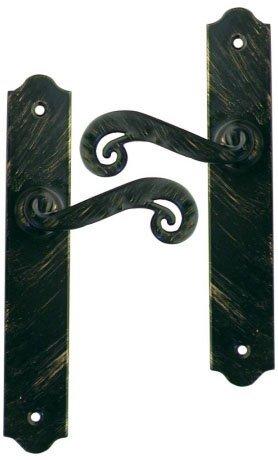Poignée de porte intérieure rustique en fer forgé noir patiné sur plaque  BdC entraxe 195 mm, SOLOGNE