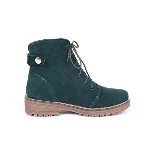 Lace Darkgreen Up Solid Boots Women's Low Suede Heels AmoonyFashion Imitated Low Top Sw5qxO
