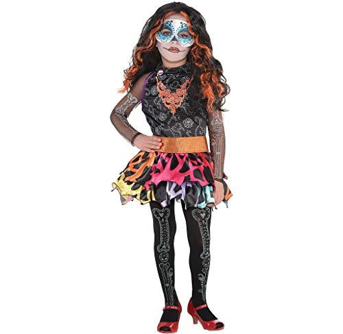 Monster High Skelita Calaveras Wig Dress Tights Child Small 4-6 Costume ()