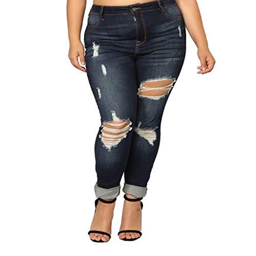 Women Elastic Plus Size Denim Pocket Casual Boot Cut Pant Jeans