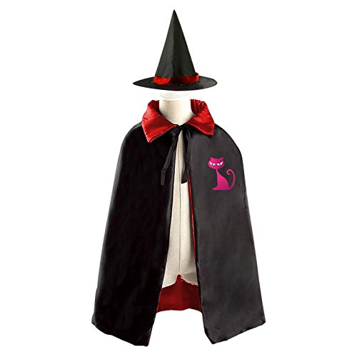 Pinky Witch Costumes (DIY pinky cat Costumes Party Dress Up Cape Reversible with Wizard Witch Hat)