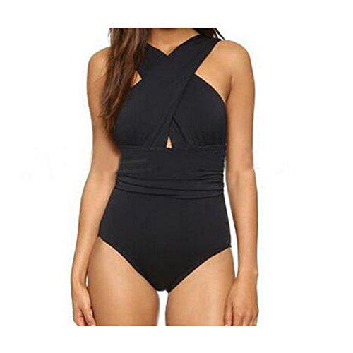 Elakaka Women's Front Criss-Cross One Piece Swimsuit High Waist Ruched Bathing - Sunglasses Cross Criss