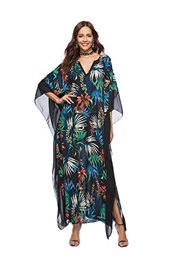 Maxi Flower Dress t Femmes Long 4 Color Batwing Tunique Kaftan OKSakady 4 3 Manches 0v68q