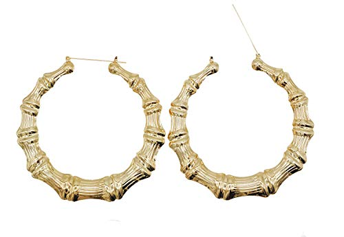 Bienvenu Bamboo Earrings Gold Tone Statement Hip-Hop Hoop ()