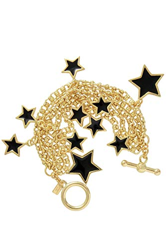 Kenneth Jay Lane Stars Black Gold Bracelet ()