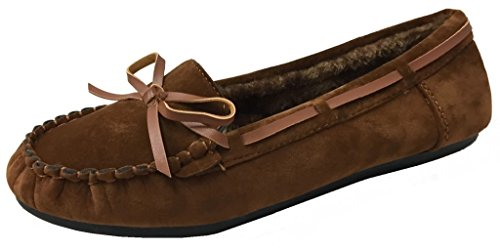 Women' Faux Soft Suede Fur Lined Moccasin Loafer Slippers (Mocassin-21) Chestnut, 6.5