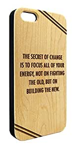 Genuine Maple Wood Organic Change Inspirational Quote Snap-On Cover Hard Case for iPhone 5C wangjiang maoyi