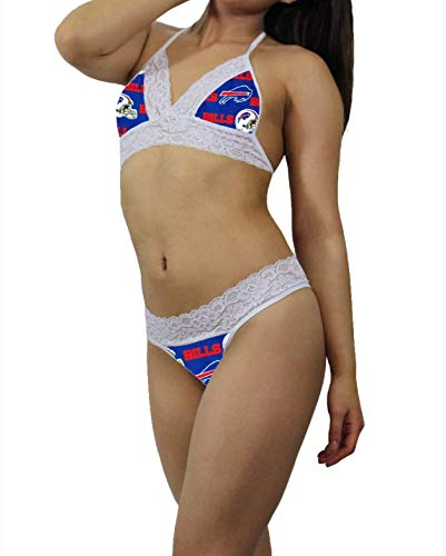 Buffalo Bills Sexy White Lace Cami Tie-Top, Matching G-String Panties Lingerie - MADE with LICENSED Fabric - Custom ()
