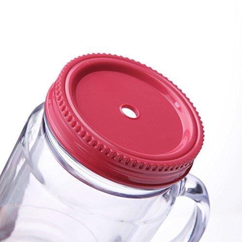 Cupture Double Wall Insulated Plastic Mason Jar Tumbler Mug With Striped Straws 20