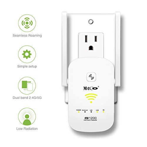 WiFi Range Extender, MECO AC1200 WiFi Repeater Dual Band Signal Booster  Wireless Signal Booster Amplifier 2 4/5GHz Supports Router