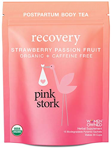 Pink Stork Recovery: Strawberry Passionfruit Postpartum Body Tea -USDA Organic Loose Leaf Herbs in Biodegradable Sachets, Supports Healthy Labor Recovery, Restores Nutrients -30 Cups, Caffeine Free ()