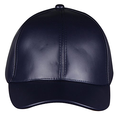 PZLE navy blue leather adjustable baseball hats for women and men Navy Blue