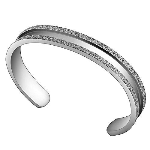 ZUOBAO Stainless Steel Elastic Hair tie Bracelet Brushed Edges for Women Girls (Silver)