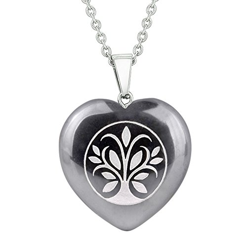 (Amulet Tree of Life Magical Powers Protection Energy Hematite Puffy Heart Pendant 22 Inch Necklace)